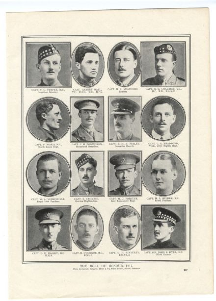 1918 WW1 Officers Killed TUPPER Chavasse VERSCHOYLE Crombie PIXLEY Tupper (547)